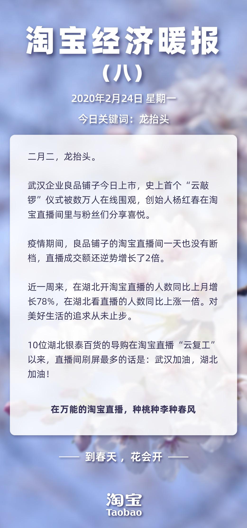 """《淘宝经济暖报》:良品铺子在淘宝上直播间""""云敲锣""""上市"""